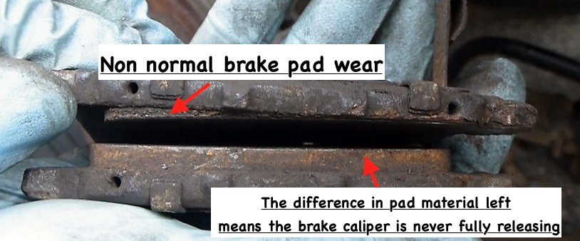Brake pads worn two different levels stuck caliper slide pins how to stop brake squeal