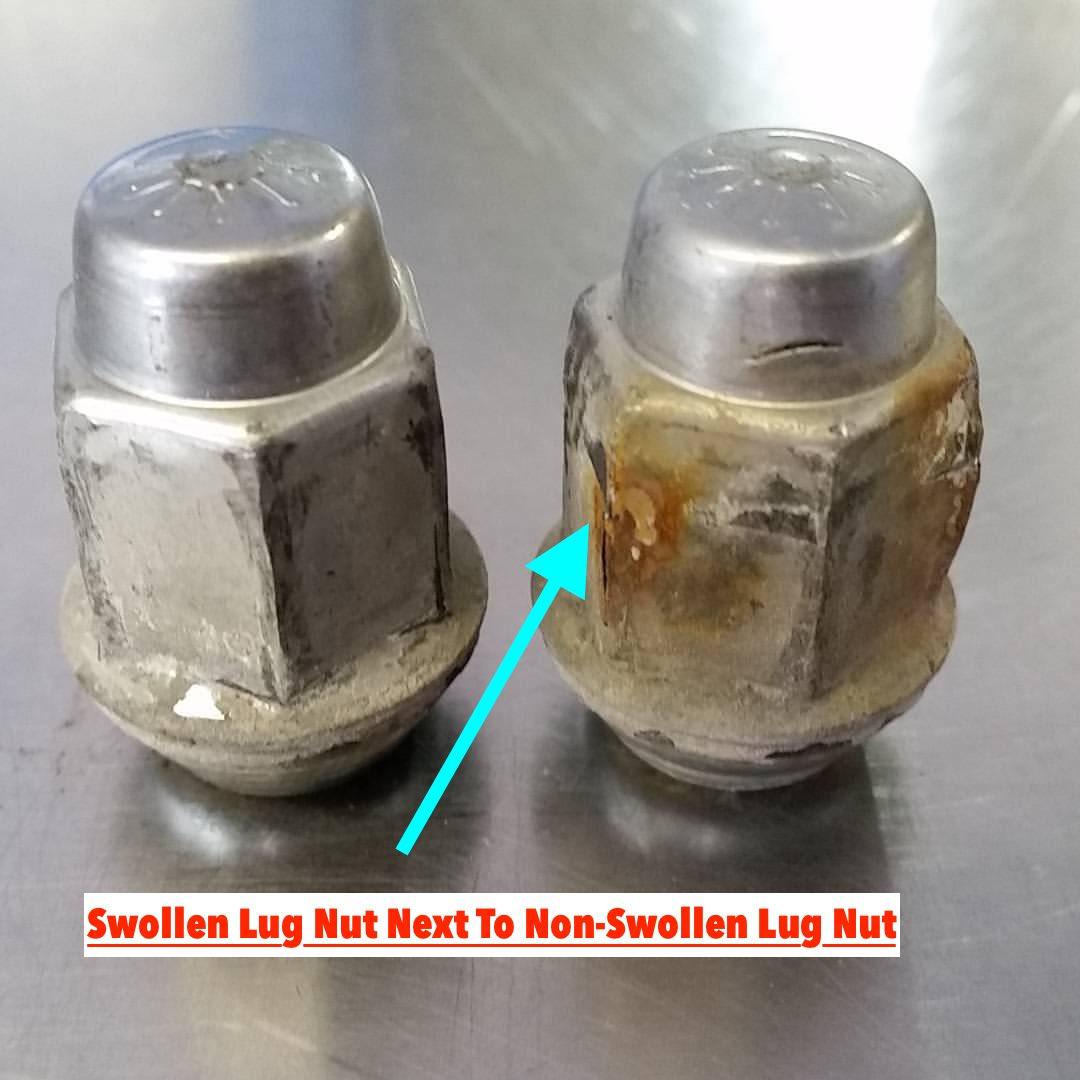 swollen-lug-nuts-vs-non-swollen-example