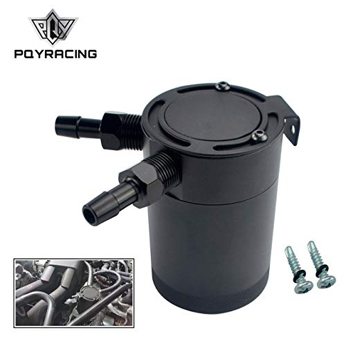 PQYRACING Compact Baffled 2-Port Oil Catch Can Tank M16×1.5 Inlet Outlet 160ml