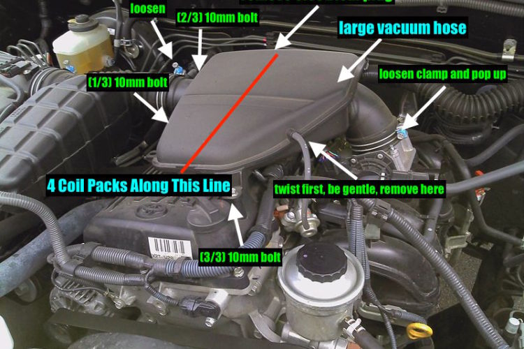 steps to spark plug installation and removal toyota 2tr-fe 2.7l tacoma 2005 2006 2007 2008 2009 2010 2011 2012 2013 2014 2015